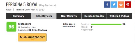《女神异闻录5R》M站均分96分 媒体一致高分好评