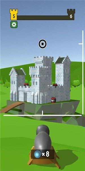 大炮射击摧毁城堡软件截图0