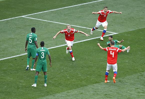 揭幕战俄罗斯5:0大胜沙特阿拉伯