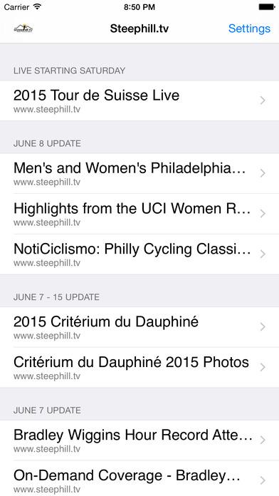 Steephill.ios - 自行车比赛软件截图1