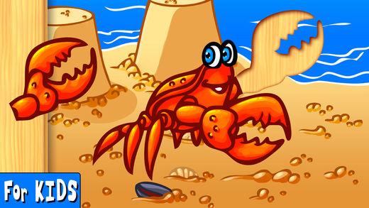 海洋动物有趣的益智 (Ocean Animals Puzzle) - 幼儿和儿童 (Wooden animal shape and form puzzles for kindergarten kids and toddlers)