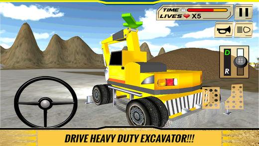 沙挖掘机驾驶员模拟器3D:工作在施工现场的重型挖掘机软件截图0