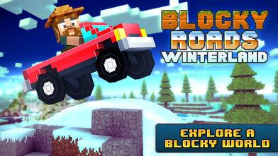 Blocky Roads Winterland(像素公路)软件截图0