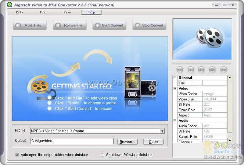 Aigo Video to MP4 Converter下载