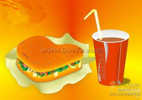 Coreldraw绘制汉堡+可乐