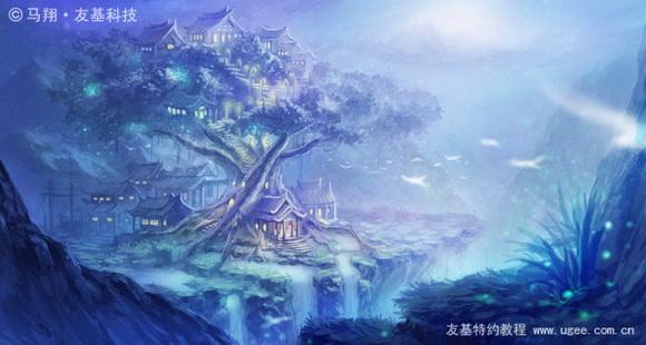 PS鼠绘奇幻的山谷美景白昼及星夜图