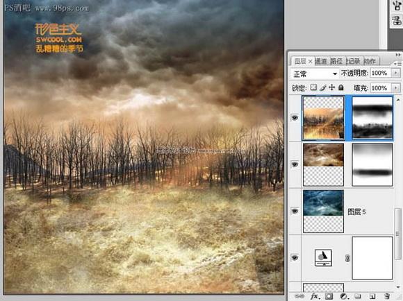 Photoshop合成飞碟袭击地球海报