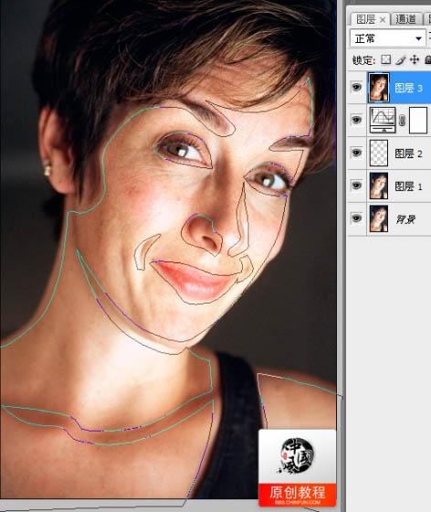 PS人物美容高级教程之消除脸上的皱纹