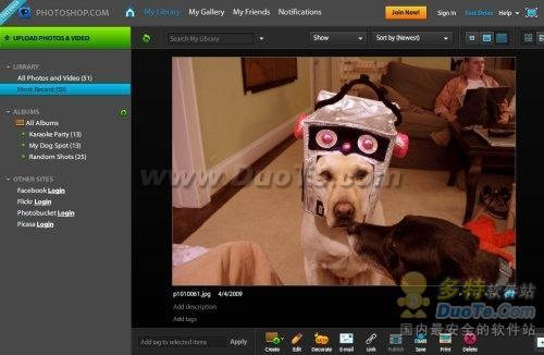 Photoshop.Com提供在线图片编辑、共享和托管服务,最大2GB免费存储空间。