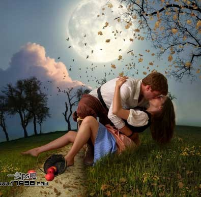 photoshop合成月光下情侣亲吻场景