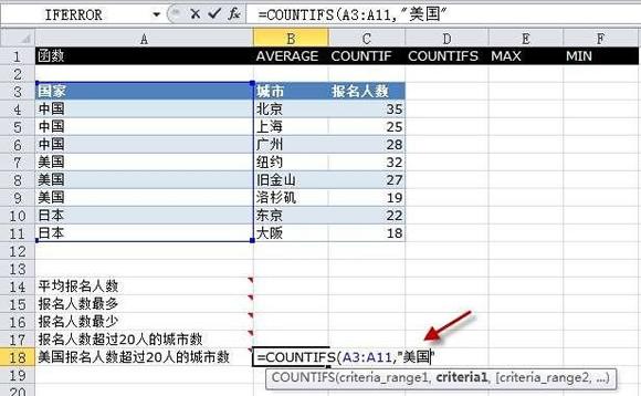 Execl2010中的COUNTIFS函数如何运用