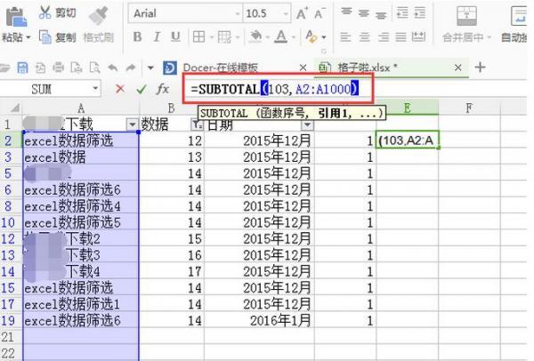 excel2016用函数自动筛选结果后如何计数