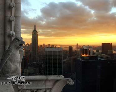 Photoshop合成在阳台眺望城市美景的美女怎么做?