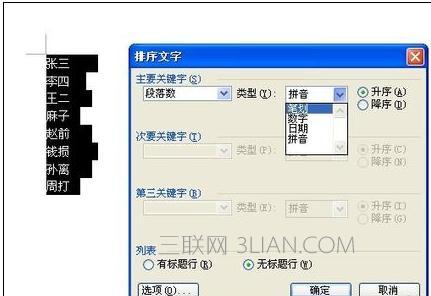 word姓氏笔画排序方法教程介绍