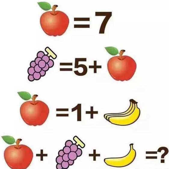 苹果香蕉葡萄那个数学题_苹果葡萄香蕉看图数学题答案是多少?苹果葡萄香蕉的算术题正确 ...