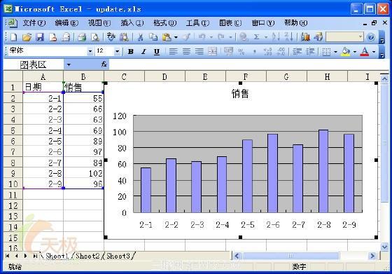 Excel输入新数据时图表自动更新设置的方法